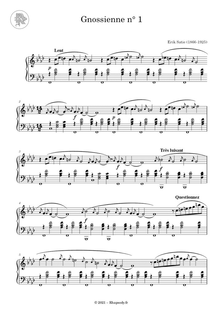 Partition Satie Gnossienne n°1